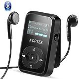 AGPTEK Bluetooth対応 クリップ MP3プレーヤー 小型軽量 音楽プレーヤー ロスレス音質 防汗 耐衝撃 FMラジオ/録音 内蔵8GB マイクロSDカードに対応 再生30時間 保証1年 ブラック A26