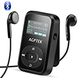 AGPTEK Bluetooth対応 クリップ MP3プレーヤー 小型軽量 音楽プレーヤー ロスレス音質 防汗 耐衝撃 FMラジオ/録音 内蔵8GB マイクロSDカードに対応 再生30時間 保証1年