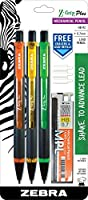 ZebraペンMP機械鉛筆、オレンジ、イエロー、グリーン、3-count (55703)