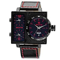 SJXIN 美しい時計 Skone/watchスリータイムゾーンダブルカレンダー大型ダイヤルメンズベルトクォーツ腕時計 (Color : 2)