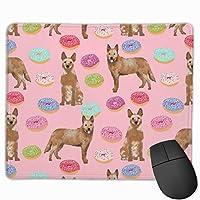 オーストラリアの牛犬のドーナツ - ドーナツ、犬のドーナツ、食べ物、かわいい犬、ペット可 - レッドヒーラー - ピンクマウスパッド 25 x 30 cm