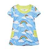 dizoon(ディゾン) [夏シリーズ]ワンピース チュニック ドレス スカート 女の子 半袖 いろいろな タイプ ブルー レインボー 1-6歳 (1歳半(80-85cm))