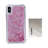 Camiter iPhone X tpu ケース 個性 スリム メッキ加工 ソフト TPU シリコン アイフォンX ケース ブリンブリン 流砂 グリッター シャイニング 可愛い 人気タイプ オシャレ 衝撃吸収 --RoseGold