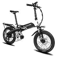 Excy(エクシ) XF500 自転車 折りたたみ MTB 250W 48V * 10Aリチウム電池(フレームに隠し) 20インチ超軽量 シマノ7段変速 マウンテンバイク サスペンション荷台付 自転車 (ホワイト)