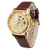 メンズ腕時計 機械式腕時計 手巻き スケルトンタイプ ウォッチ ブラウン+ゴールド+ゴールド