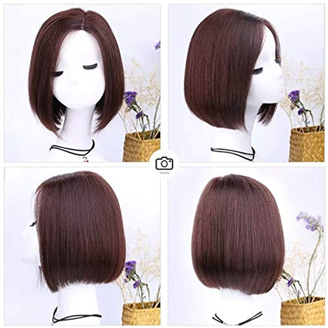 楕円形急いで湿地YOUQIU ロングストレートヘアーの女性のかつらのために実際に髪の内側にバックルふんわりナチュラルウィッグでボブショートヘア (色 : Dark brown, Design : Full hand weaving)