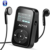 8GB Clip MP3 Player with Bluetooth 4.0 (Upgrade Version A26T), AGPTEK Lossless Sound Music Player with FM Radio Voice Recorder,Support up to 64GB,Sweat-proof Silicone Case & Armband for Sport,A26T Black