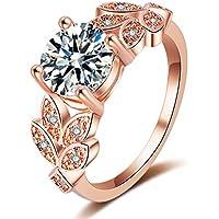 Guraxi Jewelry レディース ローズゴールド ブリリアント人工ダイヤモンド 結婚指輪 キュービックジルコニア リーフデザイン リング