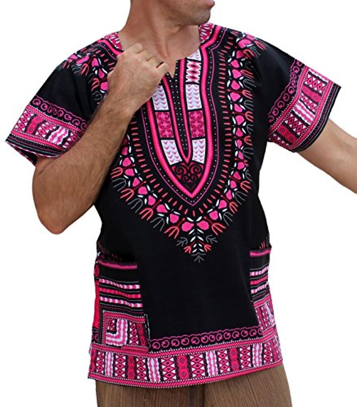 太陽カメラピルファー(ラーン パー ムアン) Raan Pah Muang アフリカ ダシキシャツ 半袖 バティック 心黒 Unisex Bright African Black Dashiki Cotton Shirt