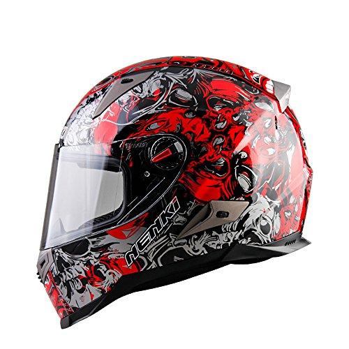 X.N.S(希望)新品出荷 20色可選 N-863 バイクヘルメット フルフェイス ヘルメット 四季通用 (XL, 藤花・赤)