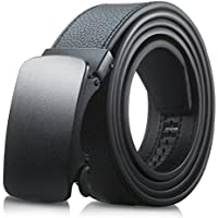 Men's Genuine Leather Belt- Ratchet Black Dress Belts for Men with Automatic Buckle.