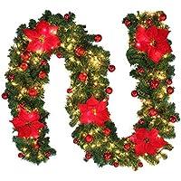 クリスマスリース モール クリスマス 飾り ガーランド クリスマス 飾り キャンディー ライト付き 電池式 植物 喫茶店 飲食店 柵 階段の手すり ホビー 玄関 ドア 窓 パーティー装飾藤 (red)