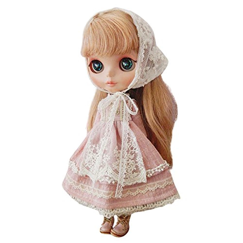 Dolly Para ブライス/AZONE/リカちゃん/桃子共通 ドール衣装 ピンク麻綿ドレス 森系