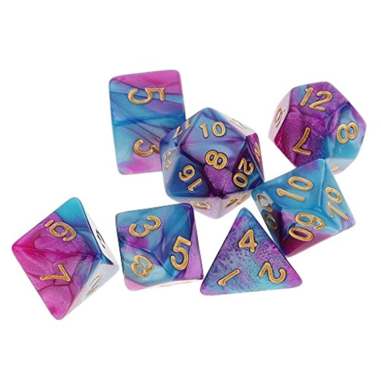 7種 多面体 り アクリル TRPG ボードゲーム サイコロ ダイス 紫 青