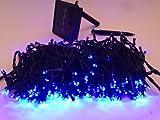 【DEEPEYES】 太陽発電 ソーラー 充電式 LED イルミネーション 発光モードは8パターン 光センサー内蔵 自動ON/OFF クリスマス イルミ (20M 200球, ブルー)