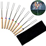 Lowis Lily 8pcs Stainless Steel Telescopic Color Roasting Sticks With Wooden Handle Marshmallow Ks Pouch - Roasting Sticks