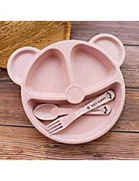 子供用ディナーセット小麦わら食器ベビーディッシュトレイ朝食トレイ