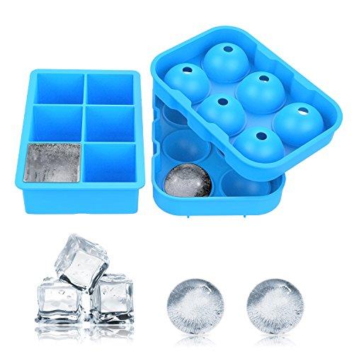 BESTOPE 製氷皿 シリコンまる氷アイストレー 6個大ボール製氷器【2個セット】お茶やお酒用氷が作れる製氷皿 直径4.5cm (ブルー)