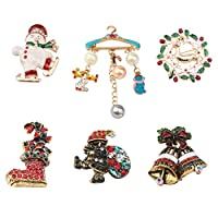 FEELMEM ファミリークリスマスブローチ 6個セット マルチカラーラインストーンクリスタル クリスマスブローチピンセット クリスマスデコレーション オーナメント ギフト クリスマスギフト