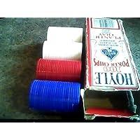 1992 Hoyle製品Hoyle 100ポーカーチップ50ホワイト/ 25レッド/ 25ブループラスチックトレイHoyle products-interlocking-all plastic-washable-made in u.s.a. ( 1992バージョン100ポーカーチップ、50、ホワイト、25レッド、25ブルーバージョン)