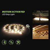 モーションセンサー LEDナイトライト モーションセンサーLEDストリップライト キャビネットクローゼット キッチンカウンター 浴室 ベッド下 ランドリー ワードローブ用 DS-MSL101x2