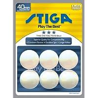 Stiga t0640 3-starテーブルテニスボール、6パック(ホワイト)