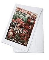 ジャクソン穴、ワイオミング州–Smokey Bear and Woodland Creatures–Only you can prevent wildfires Cotton Towel LANT-86553-TL