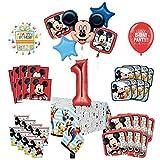 Mayflower Products ミッキーマウスと友達 1歳の誕生日パーティー用品 8ゲストデコレーションキットとバルーンブーケ