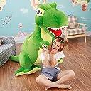 MAXYOYO ティラノサウルスぬいぐるみ 超大恐竜おもちゃ 添い寝まくら 子供フワフワ抱き枕 柔らか動物 ボーイ/子供/赤ちゃん ハロウィン 誕生日ギフト クリスマスプレゼント(全長60-160cm)