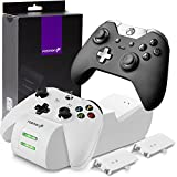 High Quality Xbox One / X S Controller Charger, [Dual Slot] Speed Docking Charging Station with 2 1000mAh Rechargeable Battery Packs (Standard and Elite Compatible) - White IMP0RTED