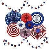 ペーパーファン 紙ファン 飾り 紙ファンセット 装飾紙ファン お祝い紙ファン アメリカ独立記念日の紙のファンの装飾アメリカ国民日愛国心のある五芒星の装飾セット 飾り付けセット 紙扇子 飾り付け 誕生日 結婚式のデコレーション - ブルー