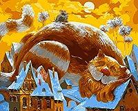 Huihuart 番号によるDIY着色絵画 数字の壁の芸術写真の装飾による家の装飾のための動物のペット猫DIYの絵画40X50cm,G