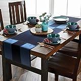 AAYU デニム テーブルランナー 45 x 274cm ストーンウォッシュ プレミアム品質 カフェ風