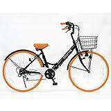 GRAPHIS(グラフィス) 折りたたみ 自転車 シティサイクル 26インチ シマノ製6段ギア GR-CITY ブラック/オレンジ