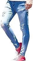 (キャバリア)CavariA メンズ アンクル丈 ダメージ デニムパンツ ストレッチ スキニー スリム 長ズボン 44(M) BLU(ブルー)