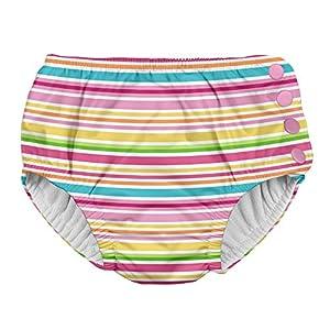 アイプレイ iplay オムツ機能付 水遊び用パンツ スイムダイパー スイミングパンツ 女の子 L:18ヶ月/10-11.5kg Pink Multistripe