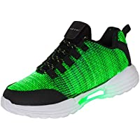 Hotdingding Women Men Kids Fiber Optic LED Shoes Light Up Sneakers with USB Charging Flashing Festivals Party Dance Luminous Shoes