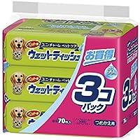 ユニ・チャームペット ペット用ウェットティッシュ つめかえ用 70枚入×3個