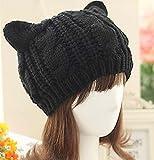 Capli ニャンともたまらない可愛さ かわいい 猫耳が付いて外出が楽しみに 猫耳 ニット帽 レディース 猫 雑貨 (ブラック)