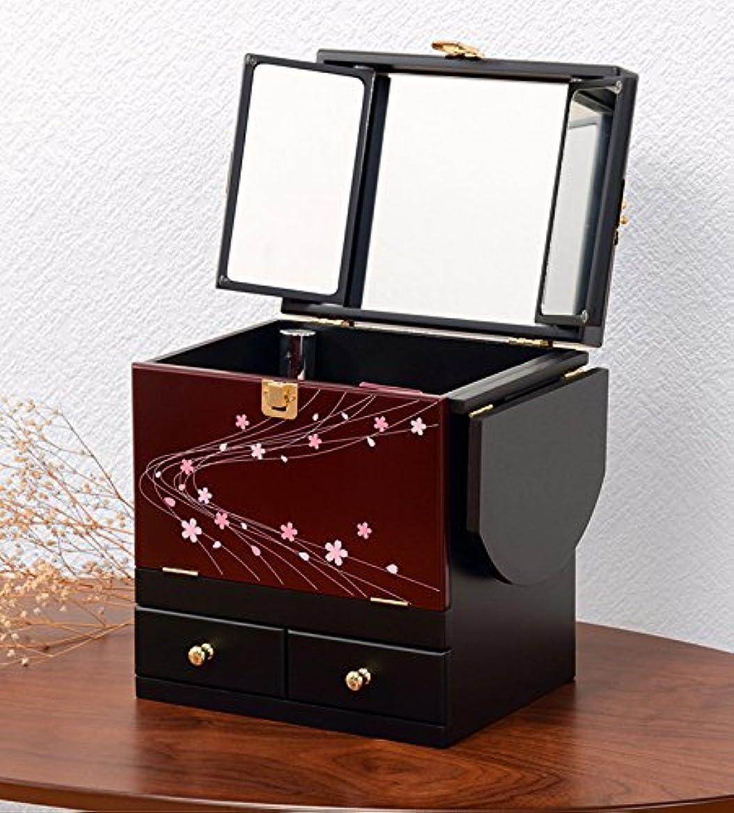 コスメボックス 化粧ボックス ジュエリーボックス コスメ収納 収納ボックス 化粧台 3面鏡 和風 完成品 折りたたみ式 軽量 えんじ