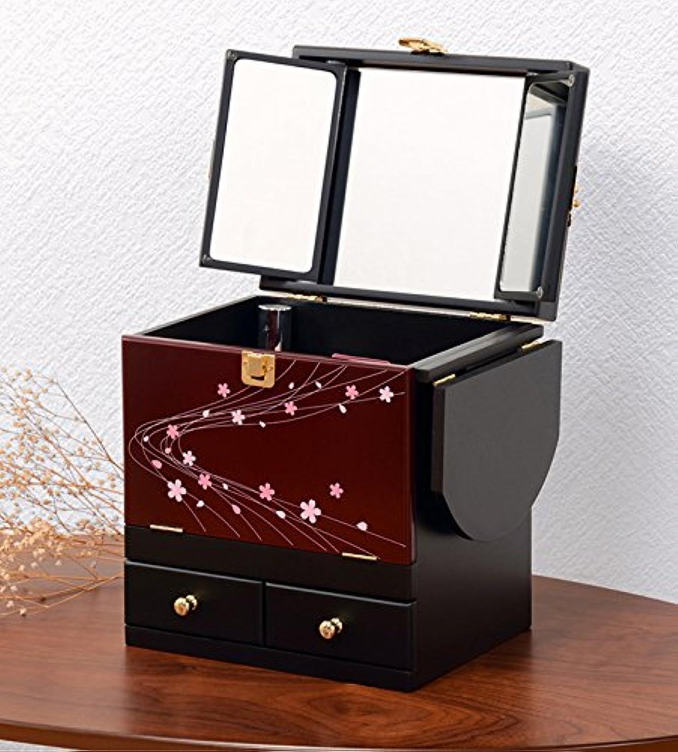 器具気怠いキッチンコスメボックス 化粧ボックス ジュエリーボックス コスメ収納 収納ボックス 化粧台 3面鏡 和風 完成品 折りたたみ式 軽量 えんじ