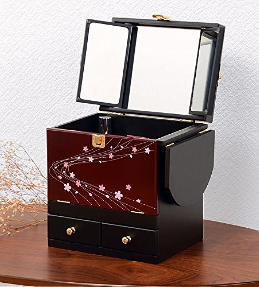ピクニックにやにや涙が出るコスメボックス 化粧ボックス ジュエリーボックス コスメ収納 収納ボックス 化粧台 3面鏡 和風 完成品 折りたたみ式 軽量 えんじ