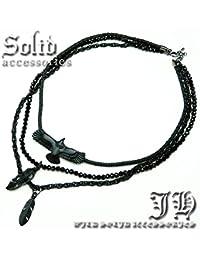 ソリッドsolid 3連ネックレス ブラックイーグル&フェザー ブラックスピネルcutペンダント メンエグ&お兄系 羽根/鷲/黒