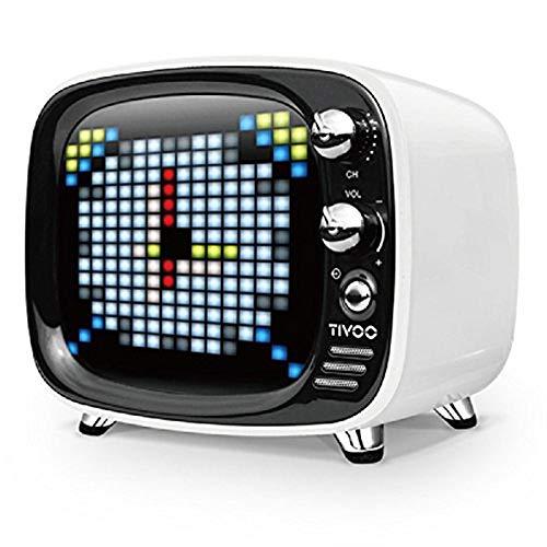 Divoom Tivoo Bluetooth 5.0 スマートピクセルアートディスプレイBluetoothスピーカー/ポータブルスピーカー小型 重低音/ワイヤレス対応 (ホワイト)
