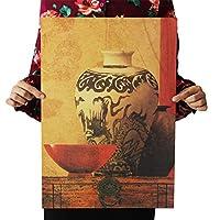 Allb ビンテージ風 アンティークポスター壁画装飾 レトロ カフェ の 装飾 絶妙なアートプリントリビングルームの寝室(中国の磁器の花瓶 51.5*35cm)