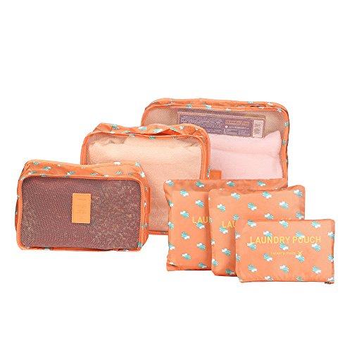BRUSMO製 アレンジケース トラベルポーチ 6点セット トラベル 防水 ポーチ人気 防水素材 スーツケース 収納 多機能ポーチ トラベル 衣類バック 小物整理 (オレンジ)