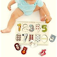 chusea興味深い木製Jigsawキュート木製教育パズルボード初期学習数図形カラー動物おもちゃFantastic Gifts for Kids (番号)
