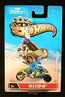 TRI & STOP ME (Blue & Green) * MOTORCYCLE & RIDER * Hot Wheels 1:64 Scale 2012 Die-Cast Vehicle