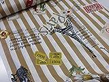 小関鈴子 ストライプ&パリジェンヌ 114ベージュ チンツ加工シャーティング生地    |2016新柄|作家|生地|布|生地|布地|インテリア|エプロン|小物|カバー|
