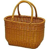 型番816 籐(ラタン)かごバッグ 買い物かご ピクニックバスケット 手編みかご 行楽用